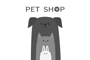 Pet shop. Dog, cat, rabbit set.