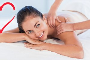 Smiling woman on massage table