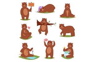 Bear vector set cartoon animal
