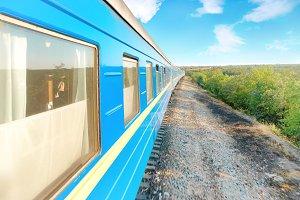 Motion modern railway train