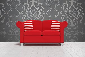 3d illustration of red sofa