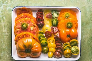 Colorful sliced tomatoes