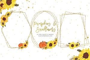 sunflower pumpkin wreath clip art