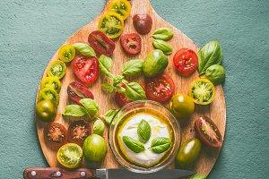 Colorful tomatoes and mozzarella
