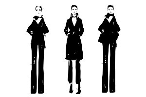 Cartoon fashion models. Sketch hand