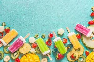 Colorful ice cream popsicles