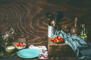 Rustic still life with strawberries