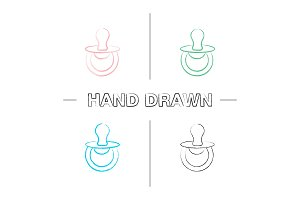 Pacifier hand drawn icons set