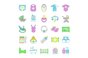 Childcare color icons set