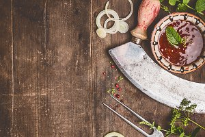 Rustic wooden food background