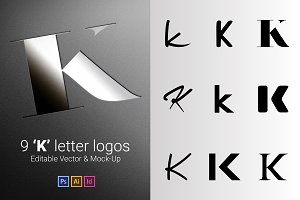9 K Letter Logos - Vector & Mock-Up