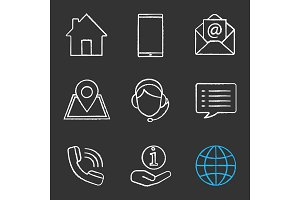 Information center chalk icons set