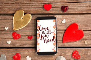 Smartphone and heart decorations