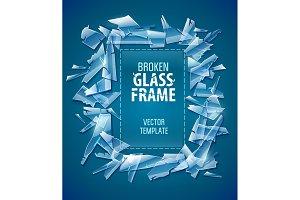 Broken glass frame decorative
