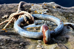 Rusty Mooring Ring at Seaside