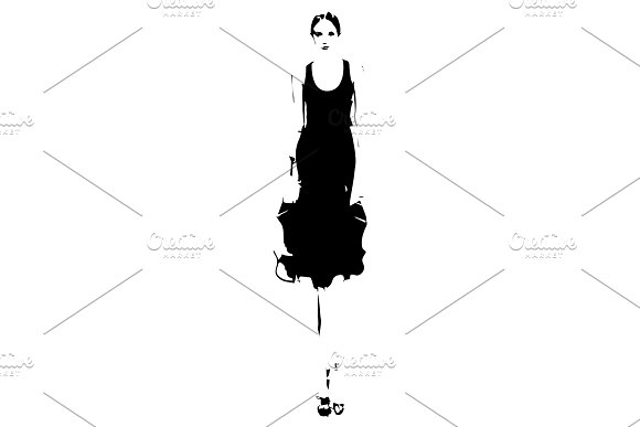Woman in a black dress. Fashion