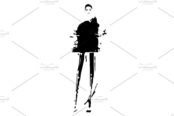 Woman in a oversize dress. Fashion
