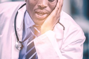 Close-up of worried doctor