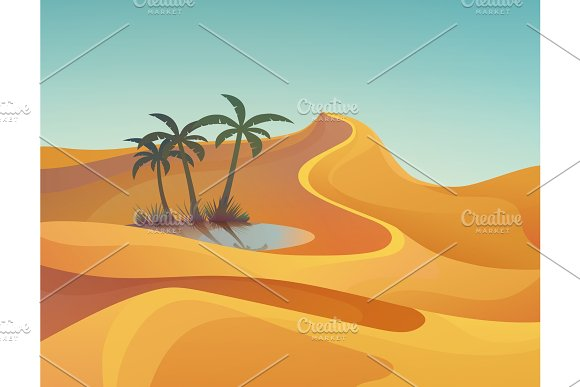 Panorama of desert with oasis