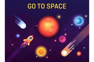 Galaxy or cosmos, space