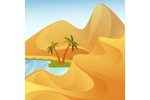 Oasis with palm trees at desert