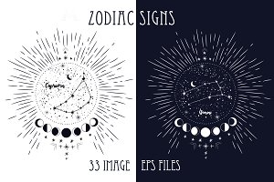 zodiac signs. style engraving