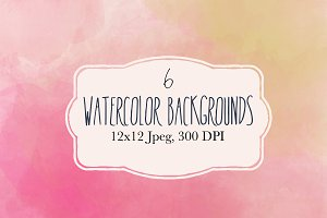 6 Pink watercolor backgrounds
