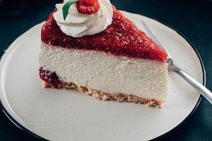 Raspberry tart, mousse cake