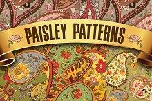Set of paisley seamless patterns.