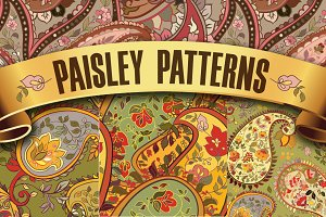 Set of paisley seamless patterns.