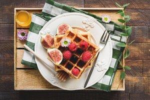 Belgian waffles for breakfast!