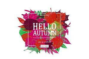 Autumn sale discount vector banner