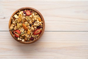 Homemade granola in bowl rustic