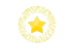 Gold star rating in rays of glory