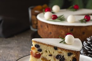 Christmas fruit cake, pudding on