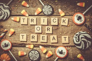 Halloween background - candies and