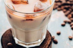 Cold fresh ice coffee close up. Copy