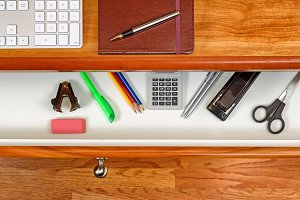 Clean cherry wood office desktop