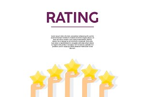Hands with gold stars rating