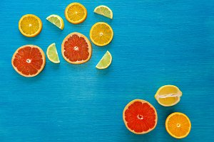 fruits on a wooden blue background