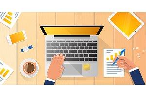 Businessman Workplace Desk Hands
