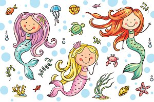 Cartoon mermaid and sea life set