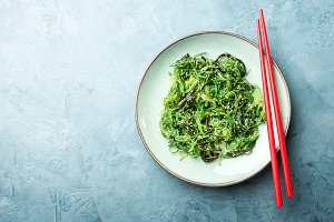 Seaweed salad served ready to eat