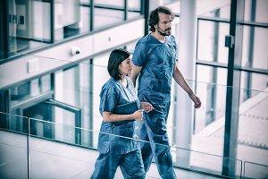 Surgeons walking in corridor