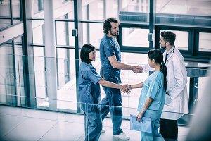 Surgeons shaking hands