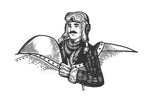 Pilot in plane engraving vector