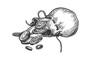 Coins in bag engraving vector