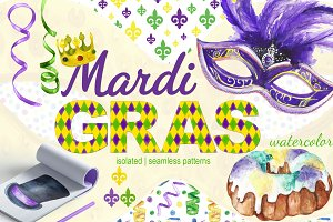 Mardi Gras watercolor set