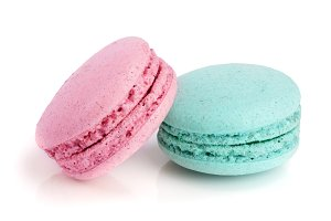 pink and blue macaroon isolated on