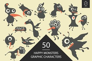 Happy monsters graphic character set